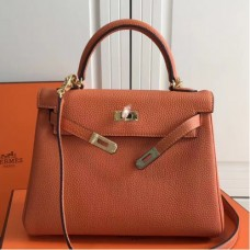 Hermes Orange Clemence Kelly 25cm GHW Bags