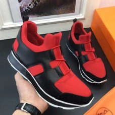 Hermes Men Red/Black Player Sneakers