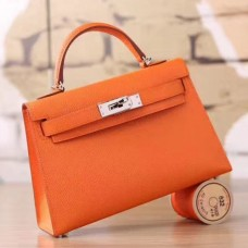 Hermes Orange Epsom Kelly Mini II 20cm Handmade Bags