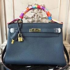 Hermes Navy Blue Clemence Kelly 32cm Retourne Bags