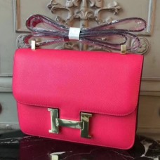 Hermes Red Constance MM 24cm Epsom Leather Bags