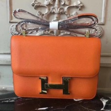 Hermes Orange Constance MM 24cm Epsom Leather Bags