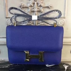 Hermes Blue Electric Constance MM 24cm Epsom Leather Bags