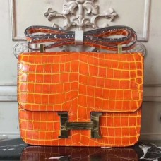 Hermes Orange Constance MM 24cm Crocodile Bags