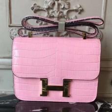 Hermes Pink Constance MM 24cm Crocodile Bags
