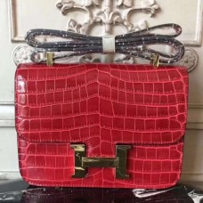 Hermes Red Constance MM 24cm Crocodile Bags