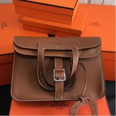 Hermes Halzan Bags In Brown Clemence Leather