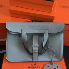 Hermes Halzan Bags In Blue Lin Clemence Leather