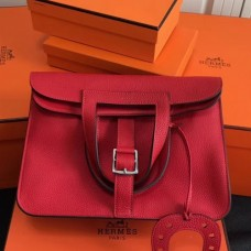 Hermes Halzan Bags In Red Clemence Leather