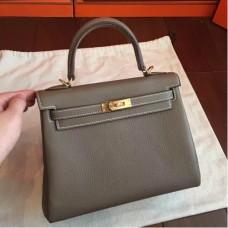Hermes Etoupe Clemence Kelly 25cm Retourne Handmade Bags