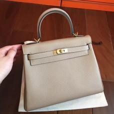 Hermes Grey Clemence Kelly 25cm Retourne Handmade Bags