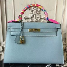 Hermes Light Blue Epsom Kelly 32cm Sellier Bags