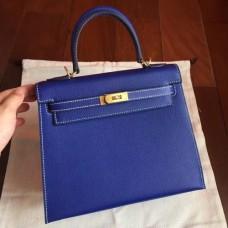 Hermes Electric Blue Epsom Kelly 25cm Sellier Handmade Bags