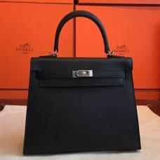 Hermes Black Epsom Kelly 25cm Sellier Handmade Bags