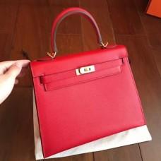Hermes Red Epsom Kelly 25cm Sellier Handmade Bags