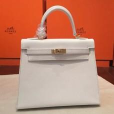 Hermes White Epsom Kelly 25cm Sellier Handmade Bags
