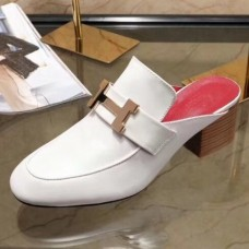 Hermes Paradis Mule In White Calfskin Leather
