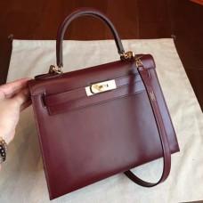 Hermes Bordeaux Box Kelly Retourne 28cm Handmade Bags