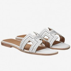 Hermes Oran Studs Sandals In White Leather