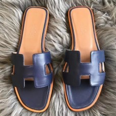 Hermes Oran Sandals In Navy Swift Leather