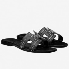Hermes Oran Studs Sandals In Black Leather