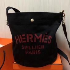 Hermes Grooming Bucket Bags In Black Canvas