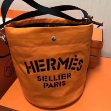 Hermes Grooming Bucket Bags In Orange Canvas