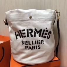 Hermes Grooming Bucket Bags In White Canvas