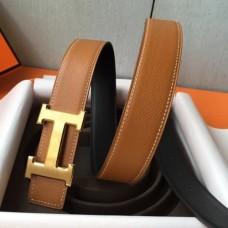 Hermes H Belt Buckle & Brown Epsom 32 MM Strap