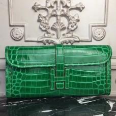 Hermes Jige Elan 29 Clutch In Bambou Crocodile Leather