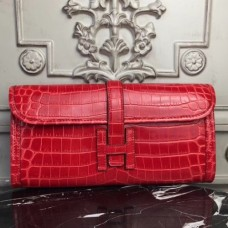 Hermes Jige Elan 29 Clutch In Red Crocodile Leather