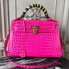 Hermes Kelly 32cm Bags In Rose Red Crocodile Leather