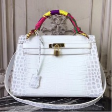 Hermes Kelly 32cm Bags In White Crocodile Leather