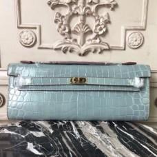 Hermes Blue Lin Crocodile Kelly Cut Clutch Bags