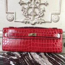 Hermes Red Crocodile Kelly Cut Clutch Bags