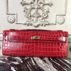 Hermes Red Crocodile Kelly Cut Clutch Bags