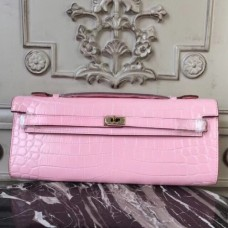 Hermes Pink Crocodile Kelly Cut Clutch Bags