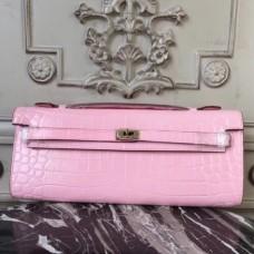 Hermes Pink Crocodile Kelly Cut Clutch Bags