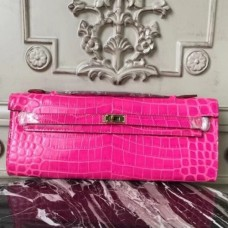 Hermes Rose Red Crocodile Kelly Cut Clutch Bags