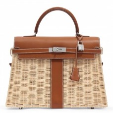 Hermes Brown Picnic Kelly 35cm Wicker Bags