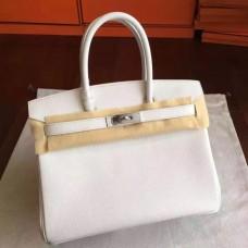 Hermes White Epsom Birkin 30cm Handmade Bags