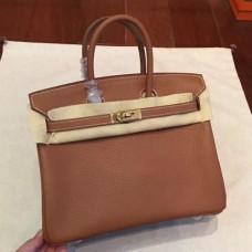 Hermes Brown Clemence Birkin 25cm Handmade Bags