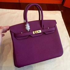 Hermes Cyclamen Clemence Birkin 25cm Handmade Bags