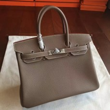 Hermes Etoupe Clemence Birkin 25cm Handmade Bags