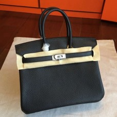 Hermes Black Clemence Birkin 25cm Handmade Bags