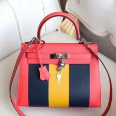Hermes Multicolor Stripes Kelly 28cm Red Bags