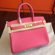 Hermes Rose Lipstick Clemence Birkin 25cm Handmade Bags