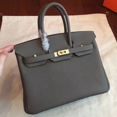 Hermes Vert Gris Clemence Birkin 25cm Handmade Bags