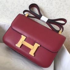 Hermes Epsom Constance 24cm Dark Red Handmade Bags