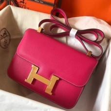 Hermes Epsom Constance 24cm Rose Red Handmade Bags